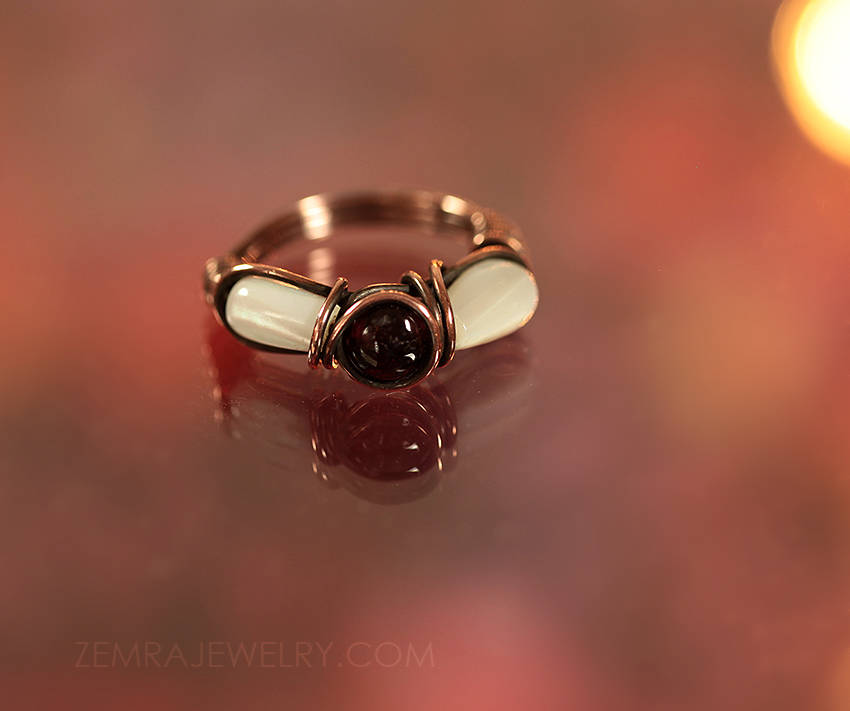 Copper Wire Wrap Garnet and Mother of Pearl Boho Ring Red and White Size 6 Copper Wire Wrap Dramatic Garnet January Birthstone Ring