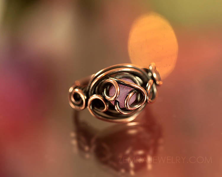 Copper Wire Wrap Rose Opal Czech Glass Boho Style Womens or Girls Pink Ring Size 3.5 Copper Wire Wrap One of a Kind October Birthstone Ring