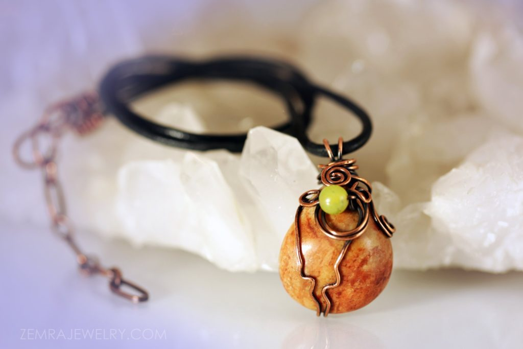 Copper Wire Wrapped Teardrop Jasper Tumbled Stone with Jade Bead. Optional Leather Cord Necklace. Copper Jewelry Boho Jewelry