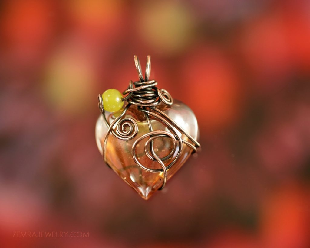Copper Wire Wrap Peachy iridescent Glass Heart Pendant Necklace with Jade Bead. Optional Black Leather Cord. Copper Jewelry. Artisan Glass