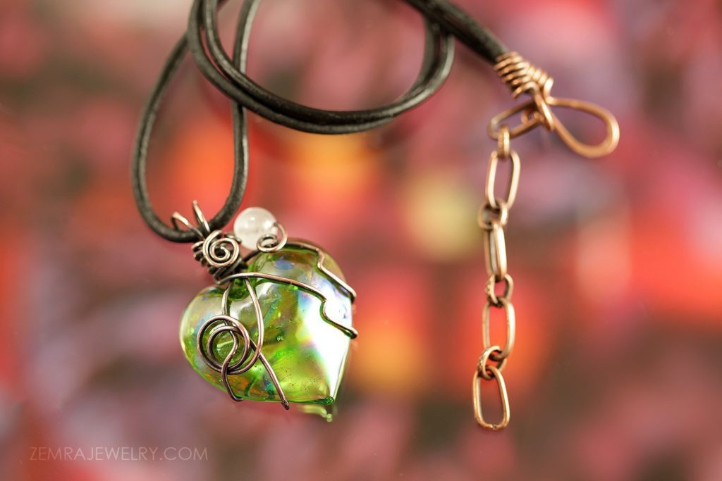 Copper Wire Wrap Light Iridescent Green Glass Heart Pendant Necklace, Quartz Bead. Optional Black Leather Cord. Copper Jewelry Artisan Glass