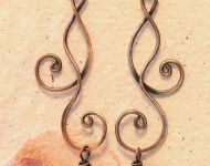 Curly copper earrings