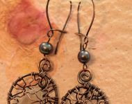 Caged sea glass copper earrings