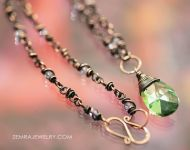 Swarovski Crystal Pendant Necklace in Peridot
