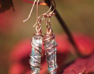 Aqua Aura Wire Wrap Earrings in Copper