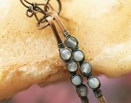Copper and Chalcedony wire wrap earrings